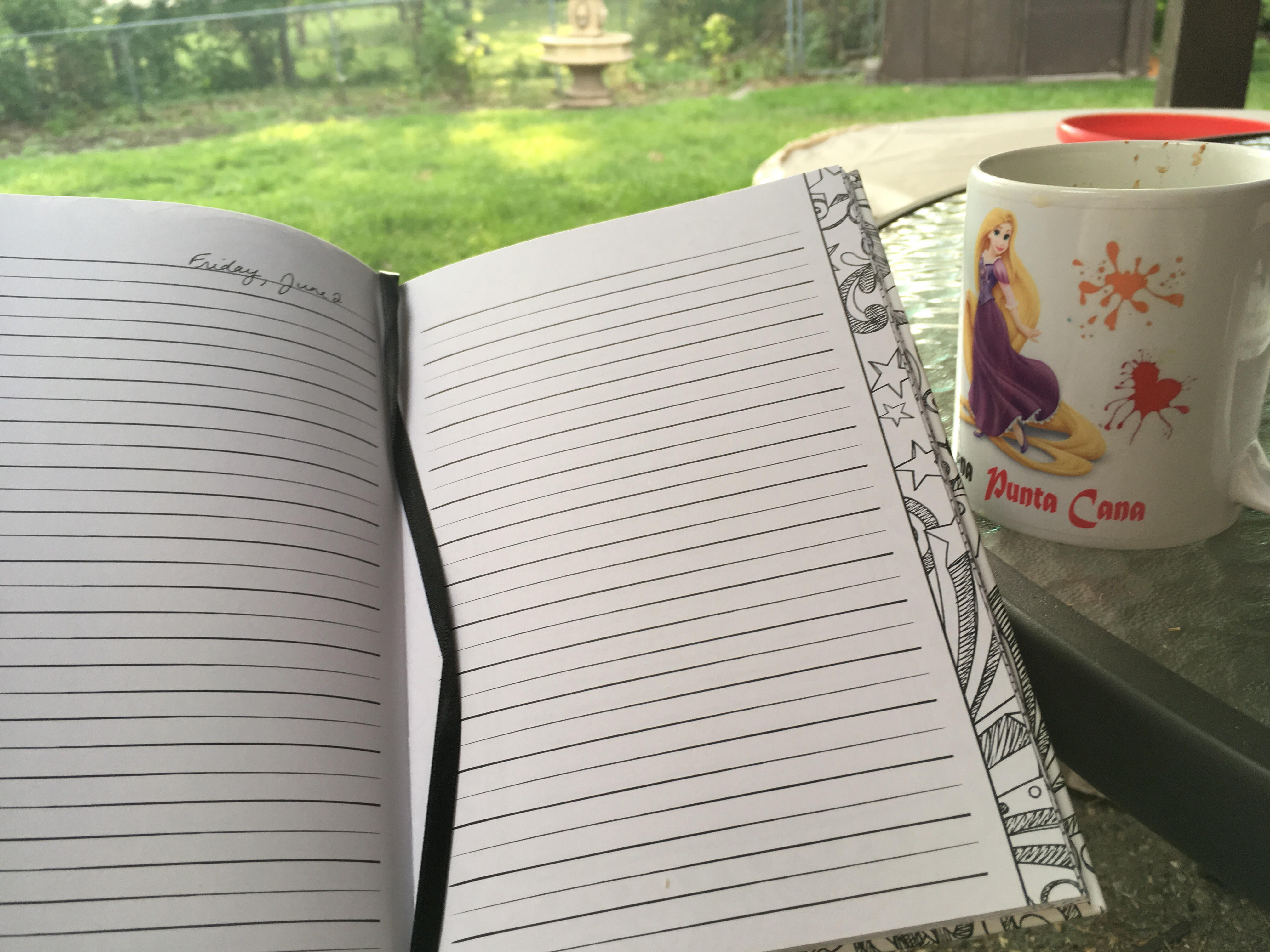 notebook and coffee mug