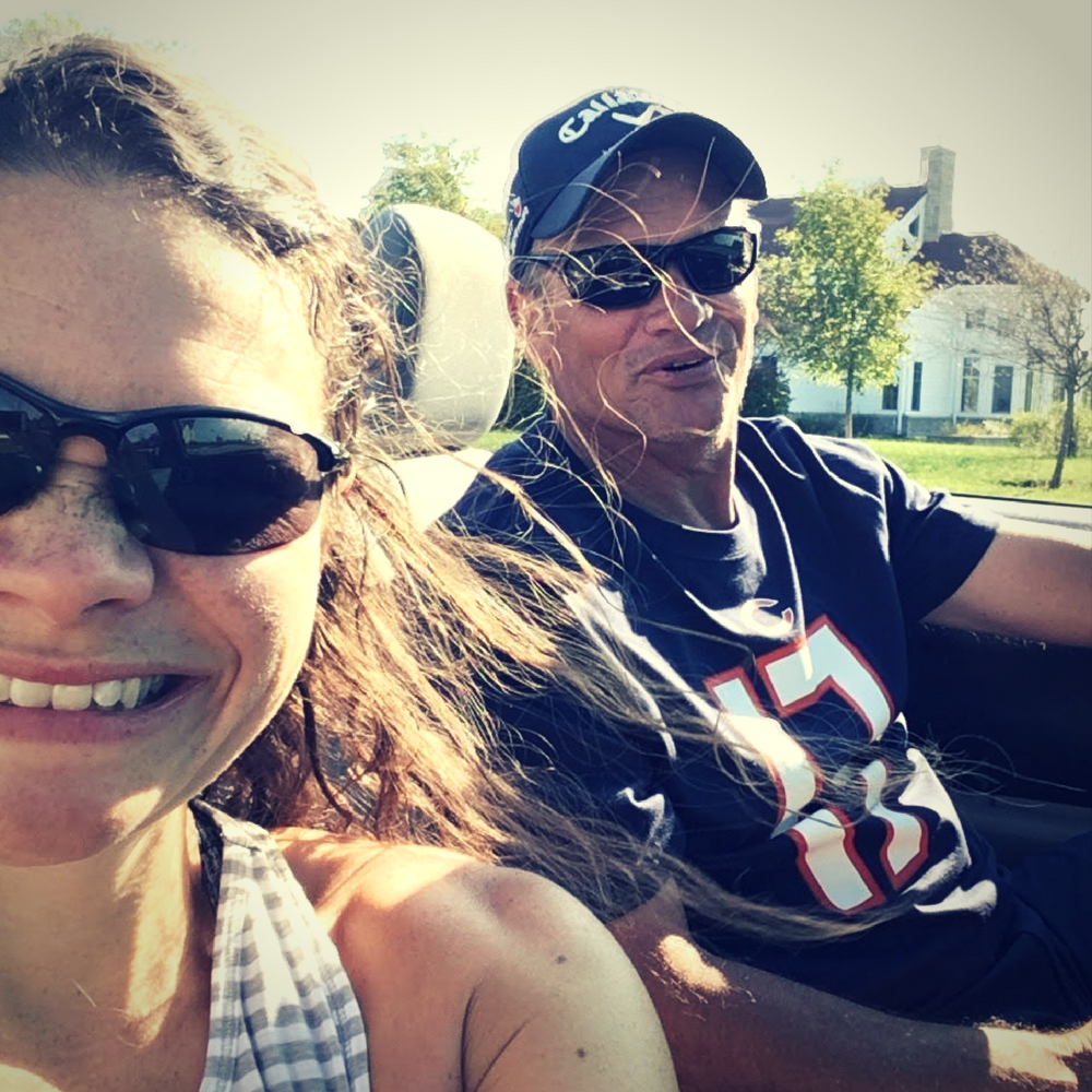 Michelle and Dad in the convertible